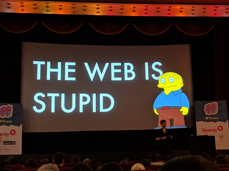 A slide from Charlie Owen's 'Dear Developer, the Web Isn't About You' talk